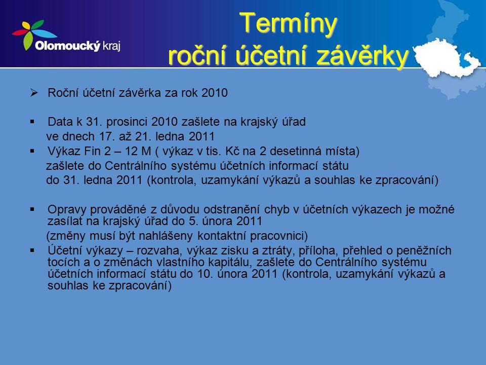 Termíny roční účetní závěrky  Roční účetní závěrka za rok 2010  Data k 31.