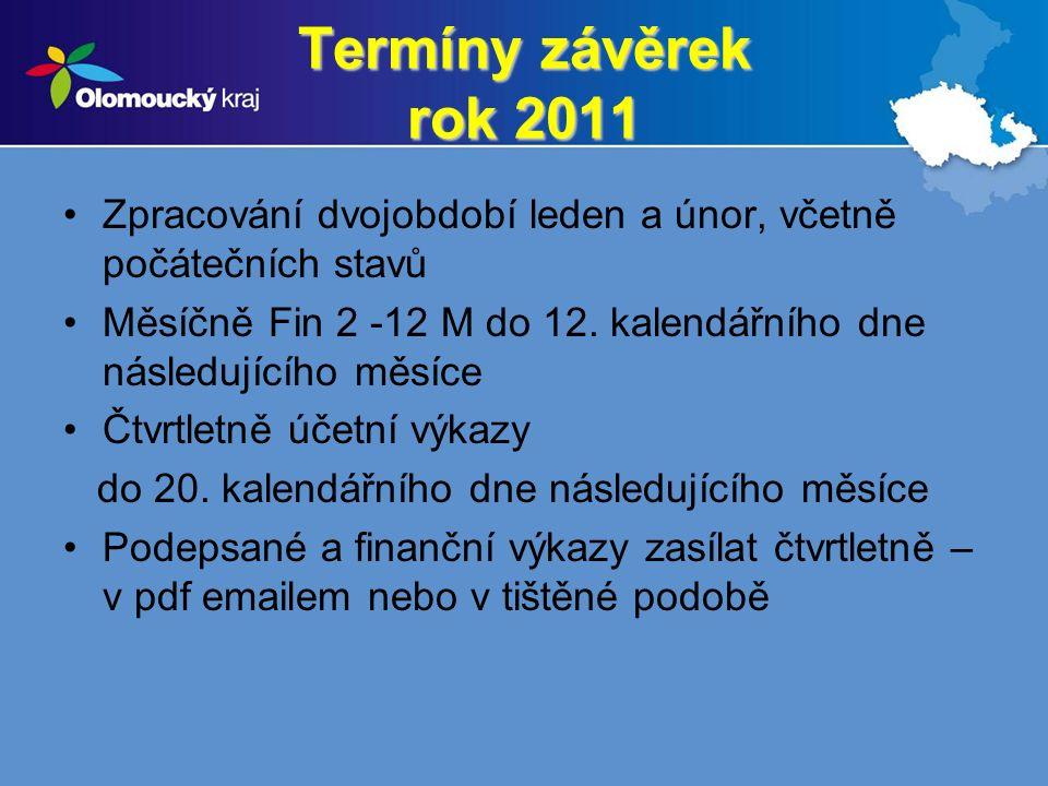 Termíny závěrek rok 2011 Zpracování dvojobdobí leden a únor, včetně počátečních stavů Měsíčně Fin 2 -12 M do 12.