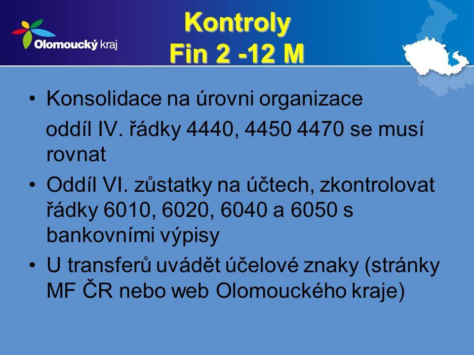 Kontroly Fin 2 -12 M Konsolidace na úrovni organizace oddíl IV.