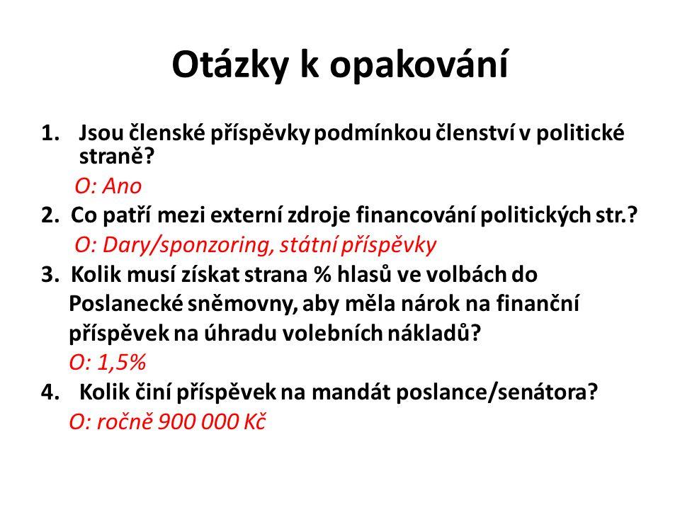 Otázky k opakování 1.Jsou členské příspěvky podmínkou členství v politické straně.