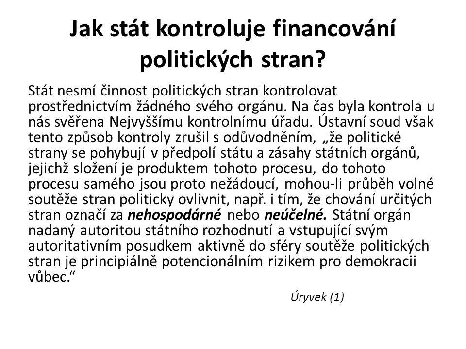 Jak stát kontroluje financování politických stran.