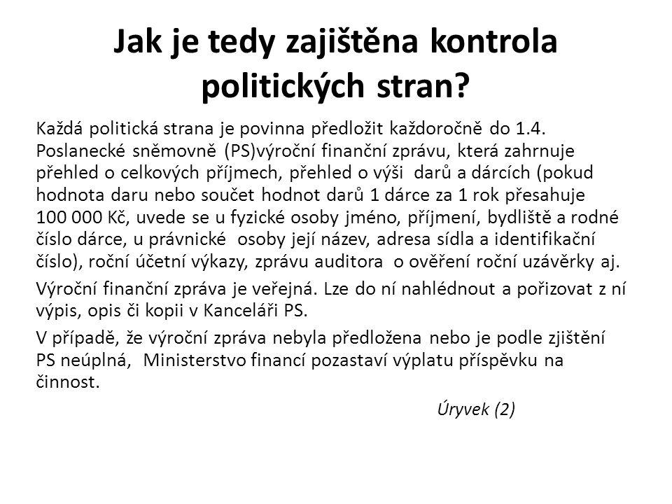 Jak je tedy zajištěna kontrola politických stran.