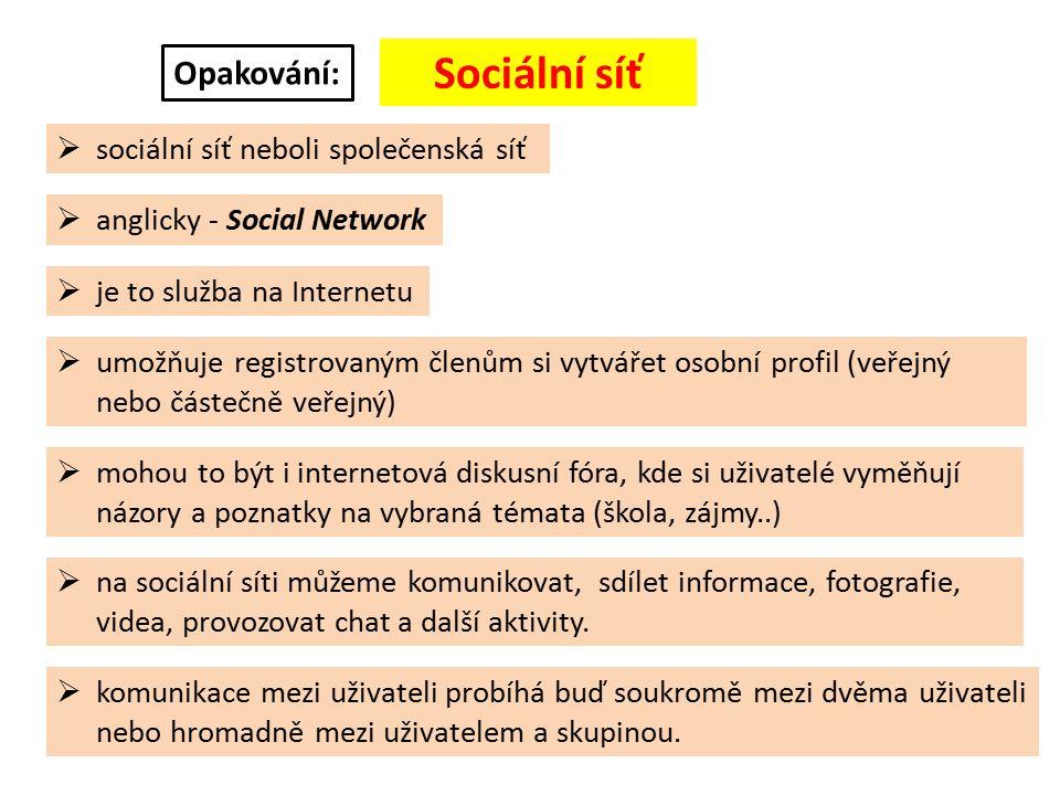 Příklady nejznámějších a nejpoužívanějších sociálních sítí