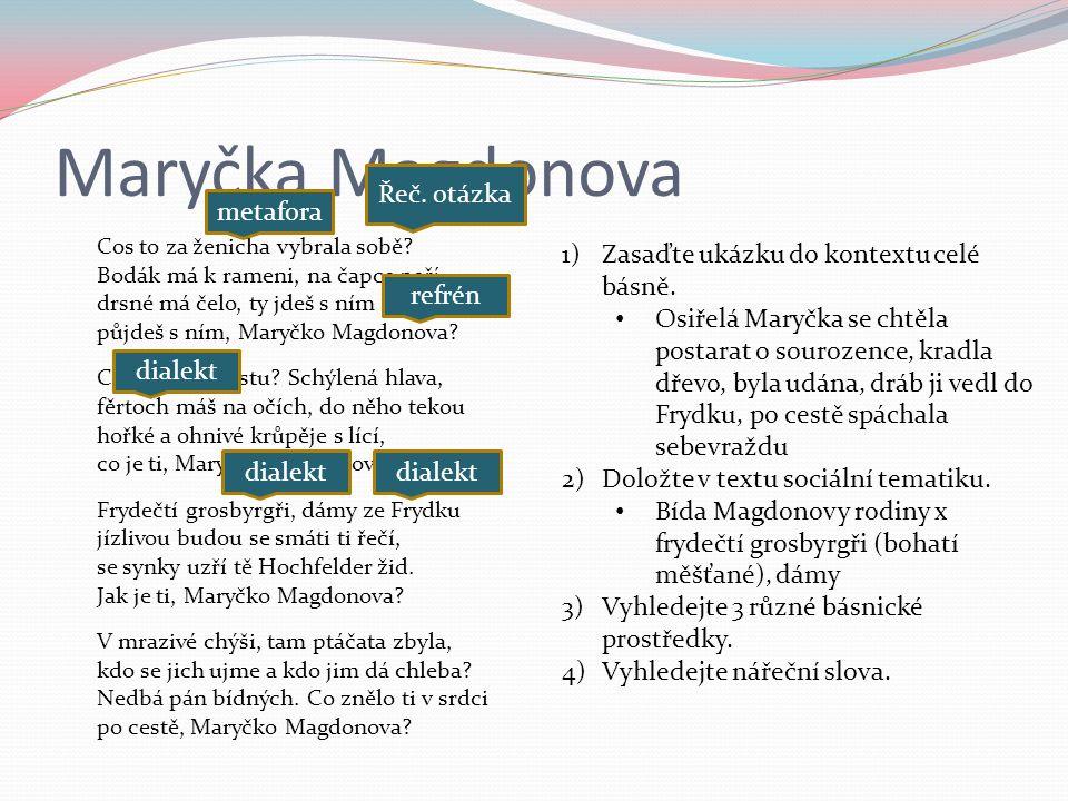 Maryčka Magdonova Cos to za ženicha vybrala sobě.