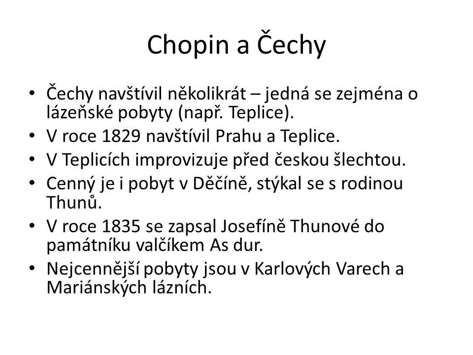 Chopin a Čechy Čechy navštívil několikrát – jedná se zejména o lázeňské pobyty (např. Teplice). V roce 1829 navštívil Prahu a Teplice. V Teplicích imp