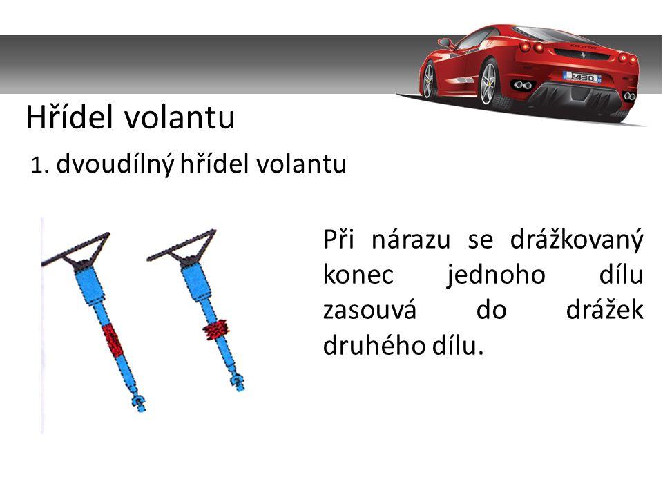1. dvoudílný hřídel volantu Při nárazu se drážkovaný konec jednoho dílu zasouvá do drážek druhého dílu. Hřídel volantu