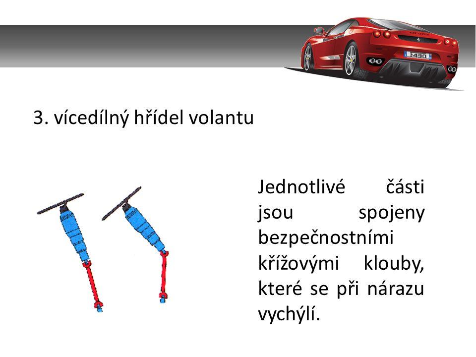 3. vícedílný hřídel volantu Jednotlivé části jsou spojeny bezpečnostními křížovými klouby, které se při nárazu vychýlí.