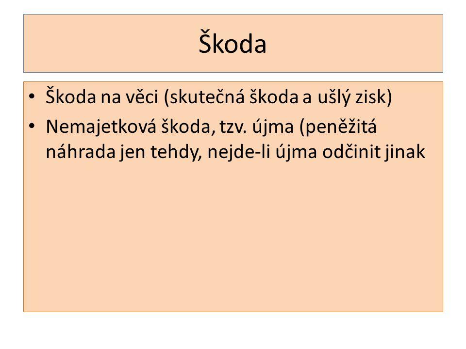 Škoda Škoda na věci (skutečná škoda a ušlý zisk) Nemajetková škoda, tzv.