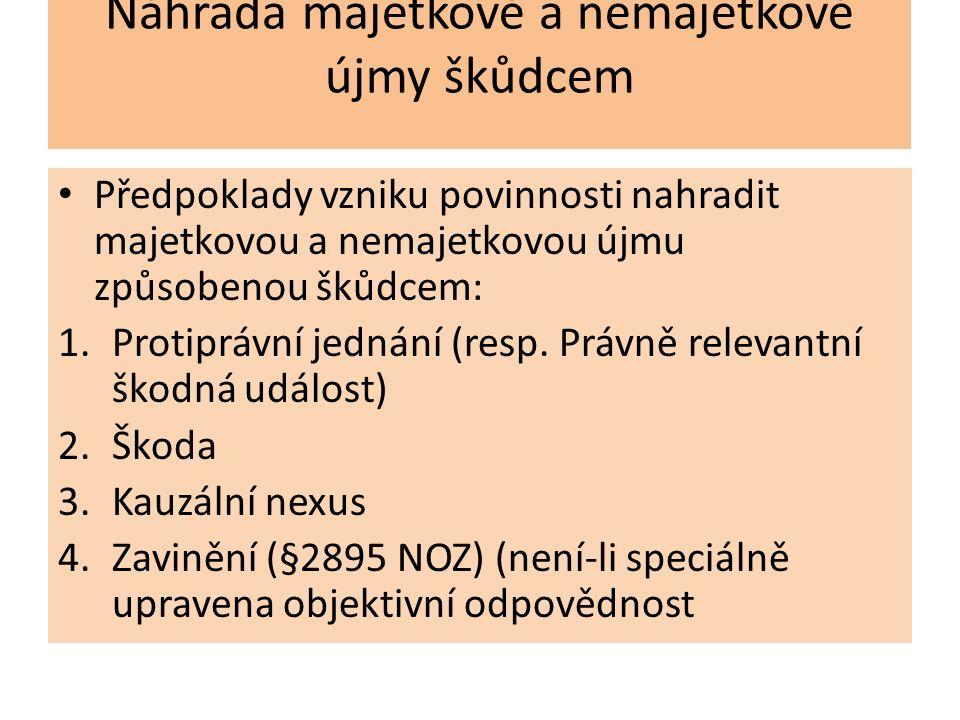 Ad 1) protiprávní jednání Jednání porušující zákon (absolutní nebo jiné právo) – mimosmluvní povinnost k náhradě škody Jednání porušující smlouvu (povinnost k náhradě bez ohledu na zavinění, ale rozsah podmíněn předvídatelností jejího vzniku Na straně subjektu pro vznik povinnosti k náhradě škody zkoumáme zda je dána jeho deliktní způsobilost § 2904 protiprávní jednání může spočívat i v zaviněném podnětu k náhodě, zejména tím, že byl porušen příkaz nebo poškozeno zařízení, které mělo nahodilé újmě zabránit (převzato z návrhu oz z roku 1937)