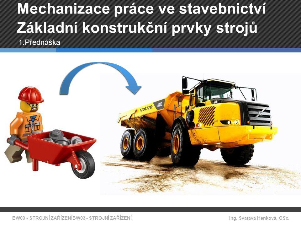 BW03 - STROJNÍ ZAŘÍZENÍBW03 - STROJNÍ ZAŘÍZENÍ Ing. Svatava Henková, CSc. Mechanizace práce ve stavebnictví Základní konstrukční prvky strojů 1.Předná