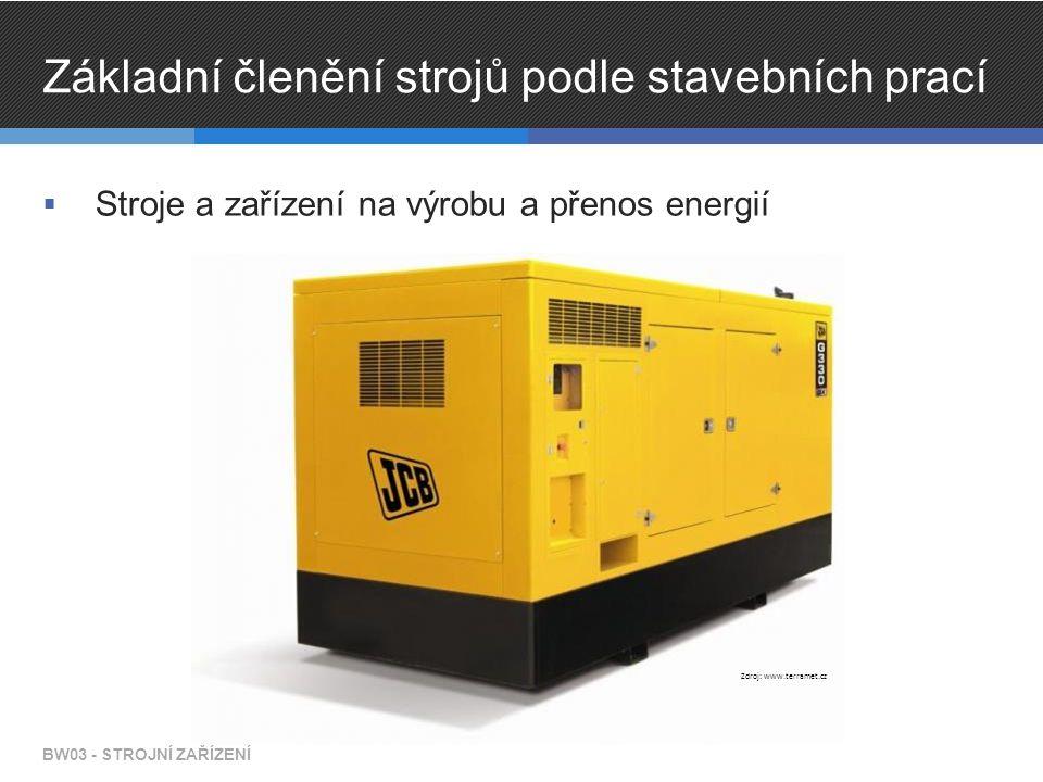 Základní členění strojů podle stavebních prací  Stroje a zařízení na výrobu a přenos energií BW03 - STROJNÍ ZAŘÍZENÍ Zdroj: www.terramet.cz
