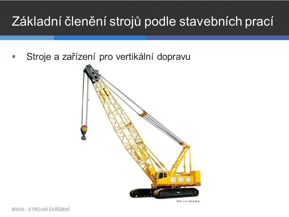 Základní členění strojů podle stavebních prací  Stroje a zařízení pro vertikální dopravu BW03 - STROJNÍ ZAŘÍZENÍ Zdroj: www.celysvet.cz