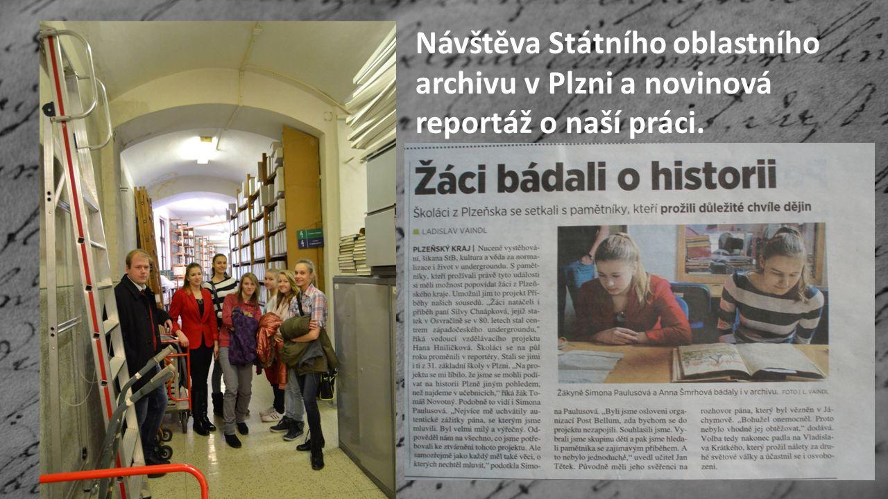 Návštěva Státního oblastního archivu v Plzni a novinová reportáž o naší práci.