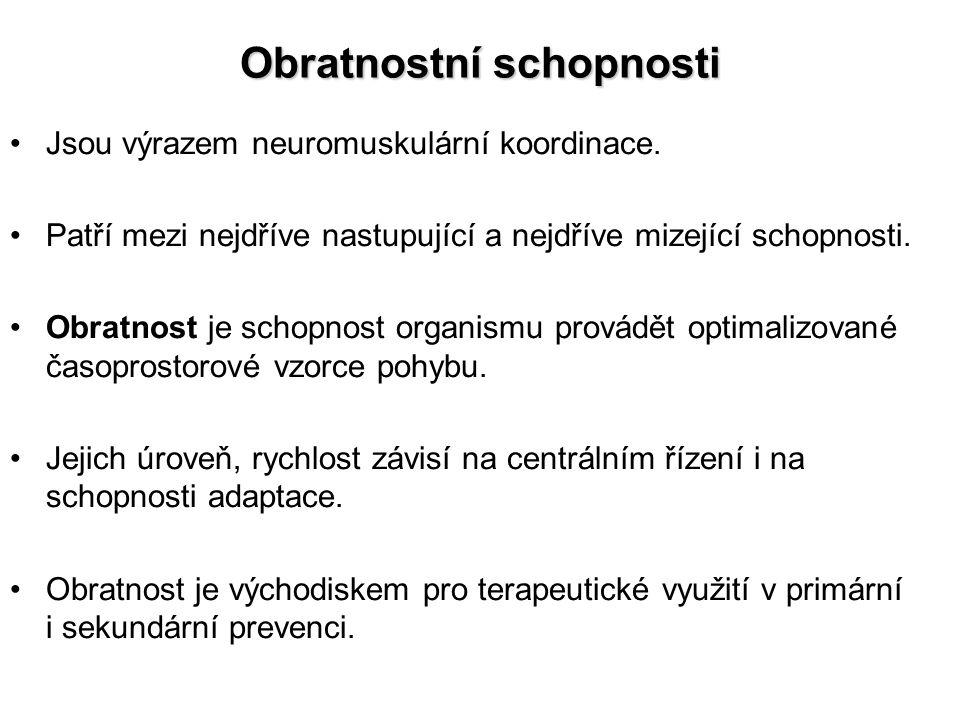 Obratnostní schopnosti Jsou výrazem neuromuskulární koordinace.