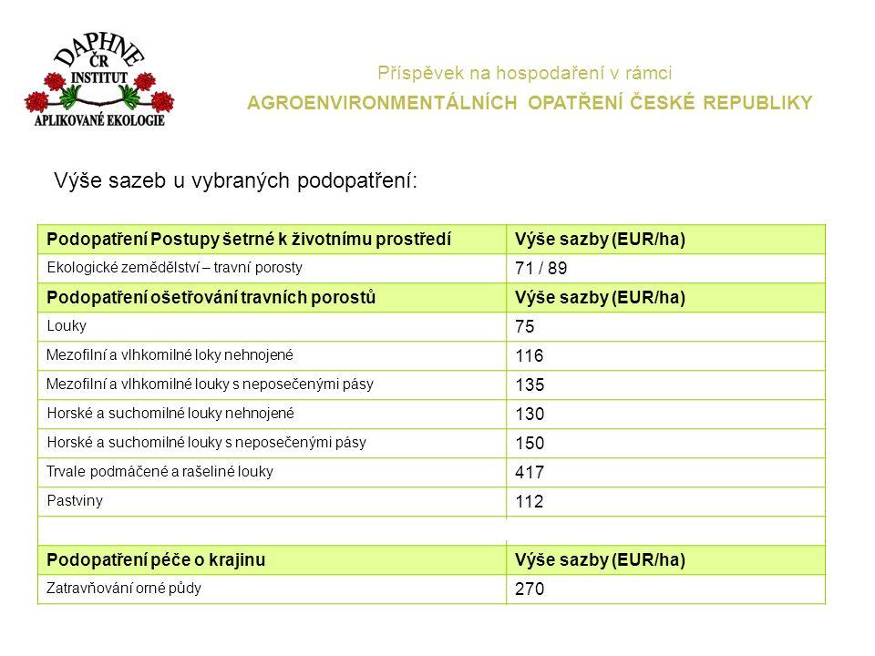 Příspěvek na hospodaření v rámci AGROENVIRONMENTÁLNÍCH OPATŘENÍ ČESKÉ REPUBLIKY Společné podmínky pro žadatele v AEO po celé pětileté období žadatel hospodaří v souladu s podmínkami dobrého zemědělského a enviromentálního stavu (GAEC) na všech blocích v LPIS vede evidenci hnojení a dodržuje období zákazu hnojení vede evidenci o používání přípravků na ochranu rostlin travní porosty žadatel 1x ročně přepásá nebo 2x ročně seče v závazných termínech rozhodné období pro všechny tituly je od 1.1.