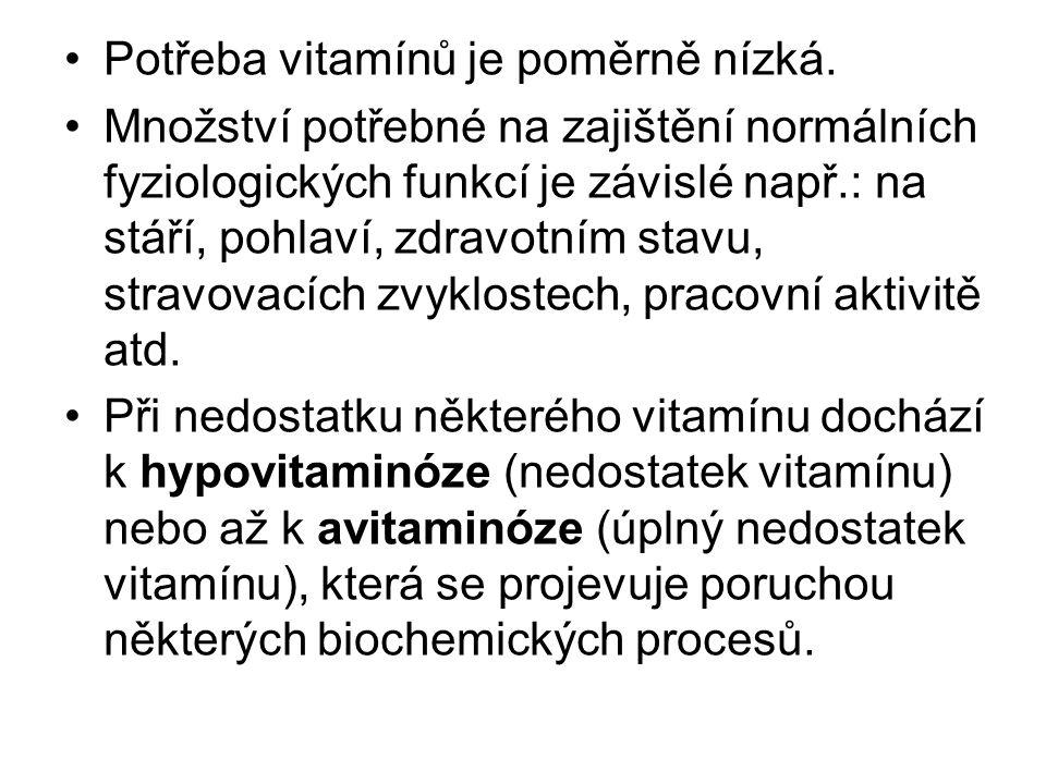 Potřeba vitamínů je poměrně nízká.