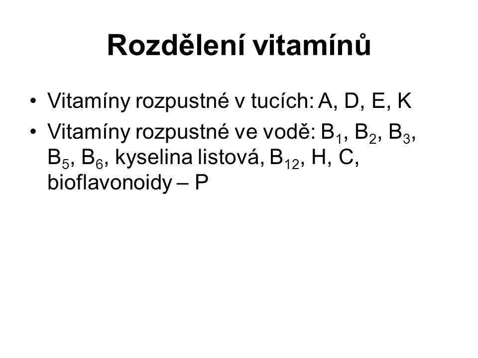 Vitamíny rozpustné v tucích: A, D, E, K Vitamíny rozpustné ve vodě: B 1, B 2, B 3, B 5, B 6, kyselina listová, B 12, H, C, bioflavonoidy – P Rozdělení vitamínů