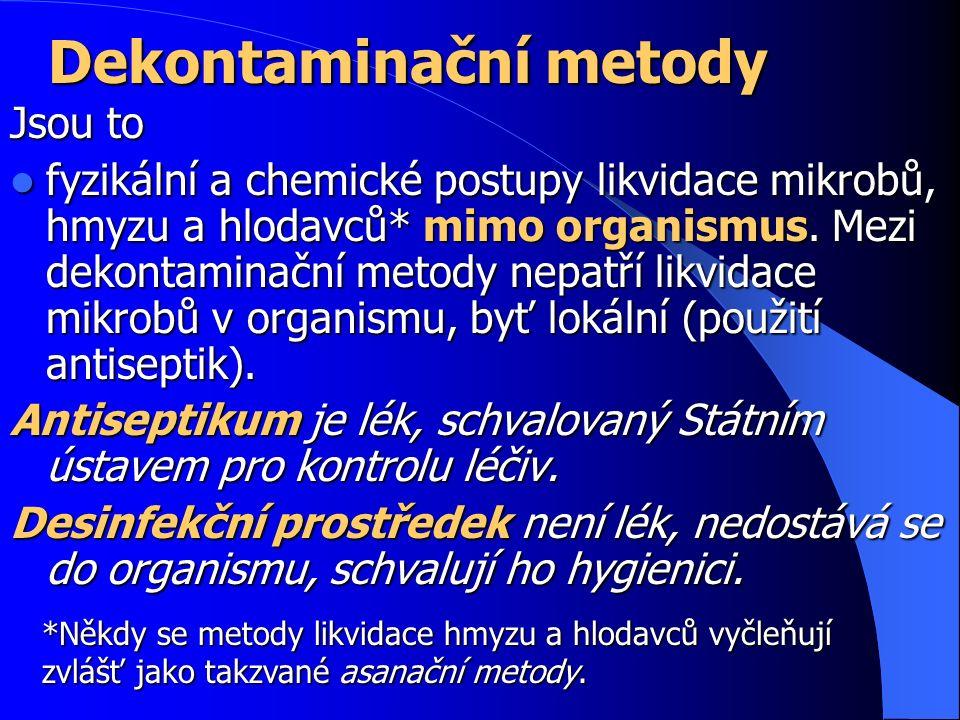 Dekontaminační metody Jsou to fyzikální a chemické postupy likvidace mikrobů, hmyzu a hlodavců* mimo organismus.