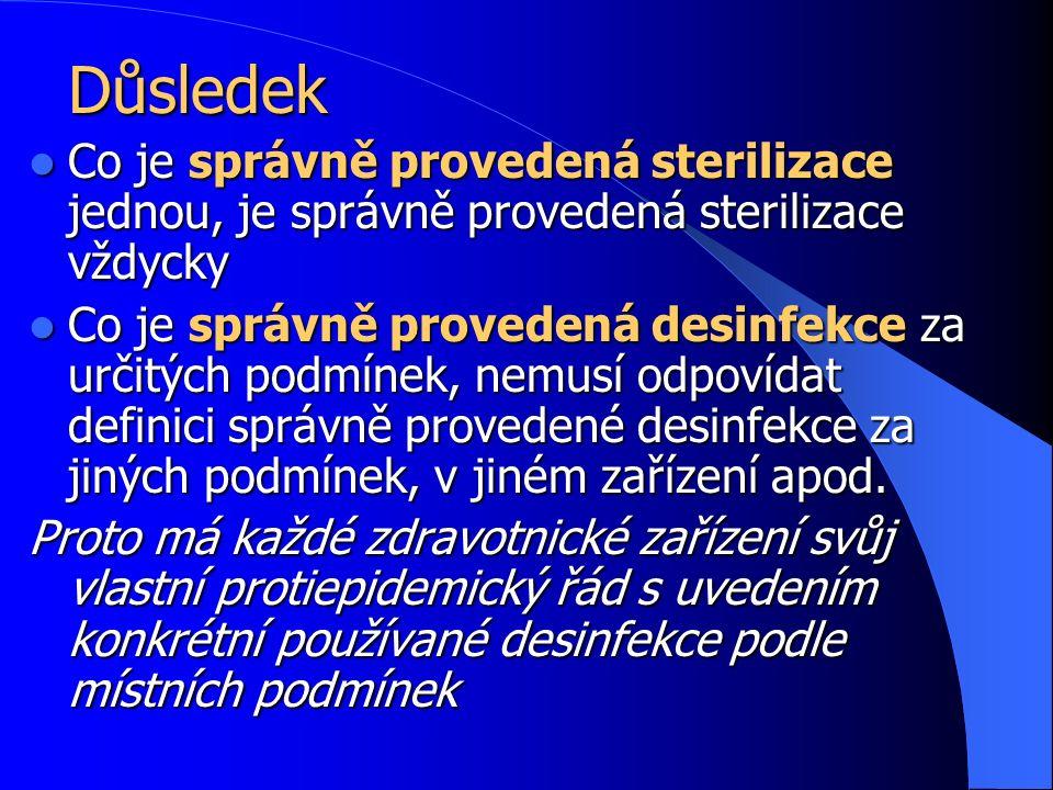 Důsledek Co je správně provedená sterilizace jednou, je správně provedená sterilizace vždycky Co je správně provedená sterilizace jednou, je správně provedená sterilizace vždycky Co je správně provedená desinfekce za určitých podmínek, nemusí odpovídat definici správně provedené desinfekce za jiných podmínek, v jiném zařízení apod.