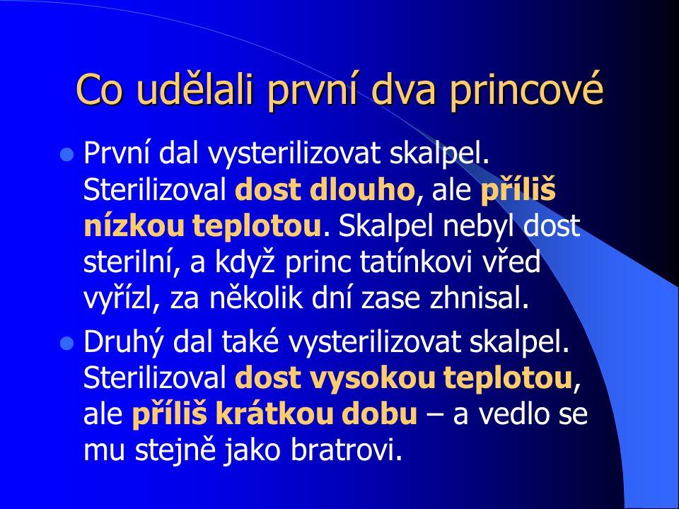 Co udělali první dva princové První dal vysterilizovat skalpel.
