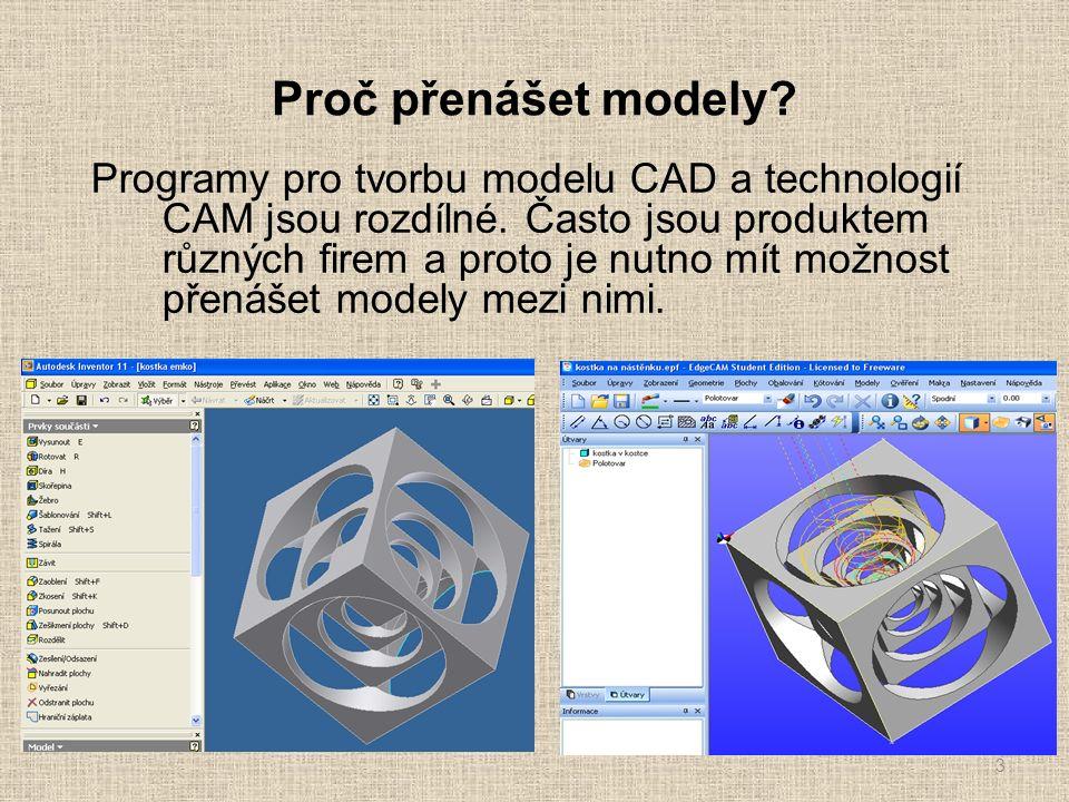 Proč přenášet modely. Programy pro tvorbu modelu CAD a technologií CAM jsou rozdílné.