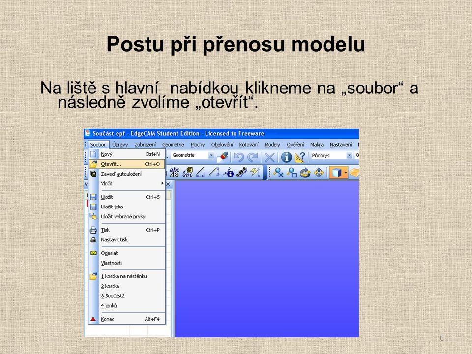 """Postu při přenosu modelu V následujícím okně s názvem """"otevřít vybereme složku nebo paměť kde jsme model v programu """"inventor uložily."""
