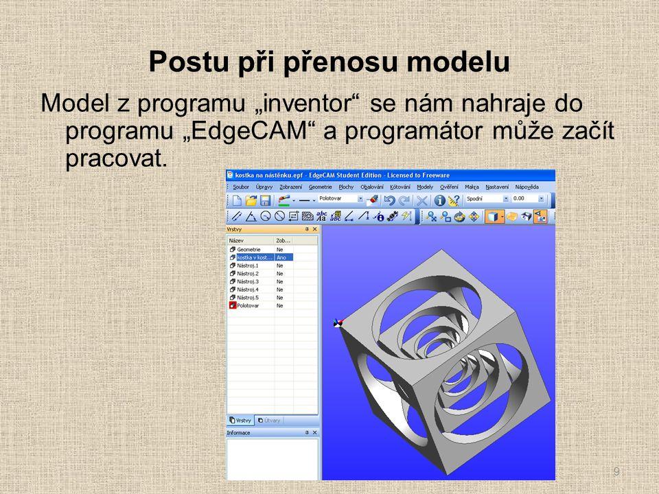 """Postu při přenosu modelu Model z programu """"inventor se nám nahraje do programu """"EdgeCAM a programátor může začít pracovat."""