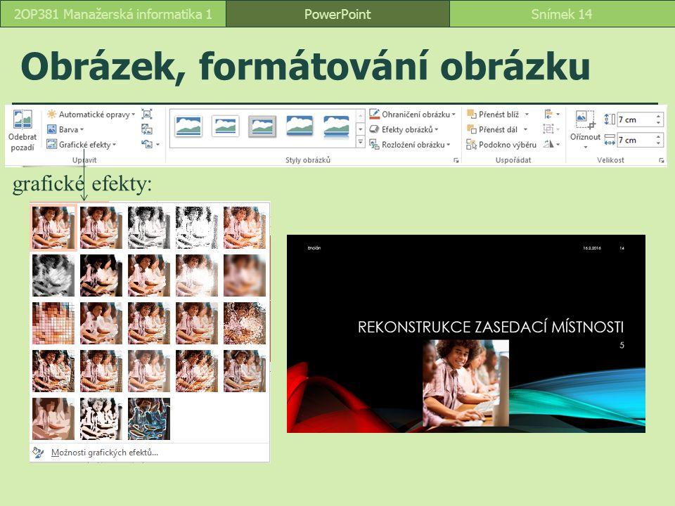 Obrázek, formátování obrázku PowerPointSnímek 142OP381 Manažerská informatika 1 grafické efekty: