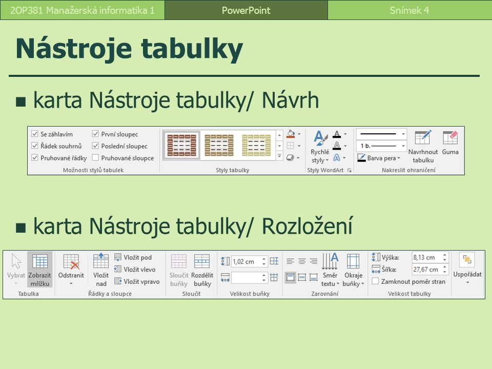 Nástroje tabulky karta Nástroje tabulky/ Návrh karta Nástroje tabulky/ Rozložení PowerPointSnímek 42OP381 Manažerská informatika 1