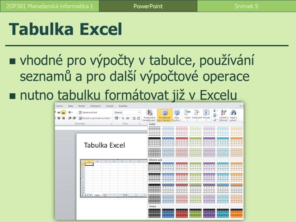 Tabulka Excel vhodné pro výpočty v tabulce, používání seznamů a pro další výpočtové operace nutno tabulku formátovat již v Excelu PowerPointSnímek 52OP381 Manažerská informatika 1