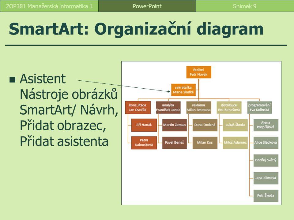SmartArt: Organizační diagram PowerPointSnímek 92OP381 Manažerská informatika 1 Asistent Nástroje obrázků SmartArt/ Návrh, Přidat obrazec, Přidat asistenta