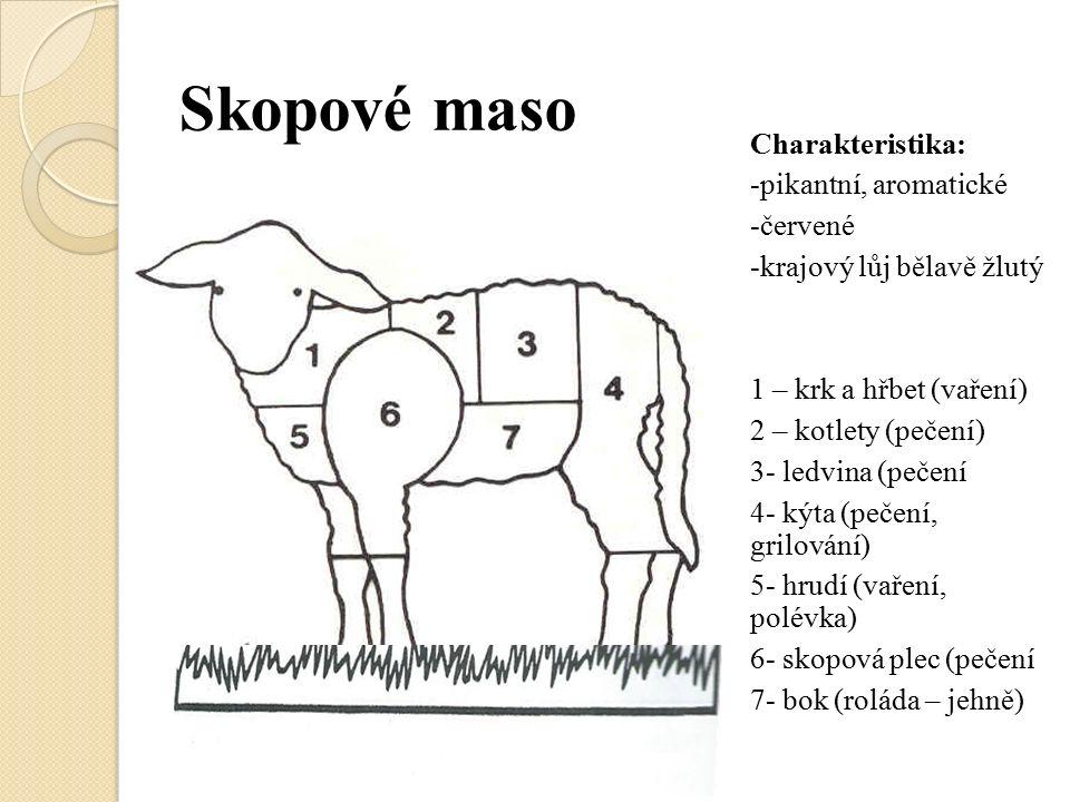 Skopové maso Charakteristika: -pikantní, aromatické -červené -krajový lůj bělavě žlutý 1 – krk a hřbet (vaření) 2 – kotlety (pečení) 3- ledvina (pečení 4- kýta (pečení, grilování) 5- hrudí (vaření, polévka) 6- skopová plec (pečení 7- bok (roláda – jehně)