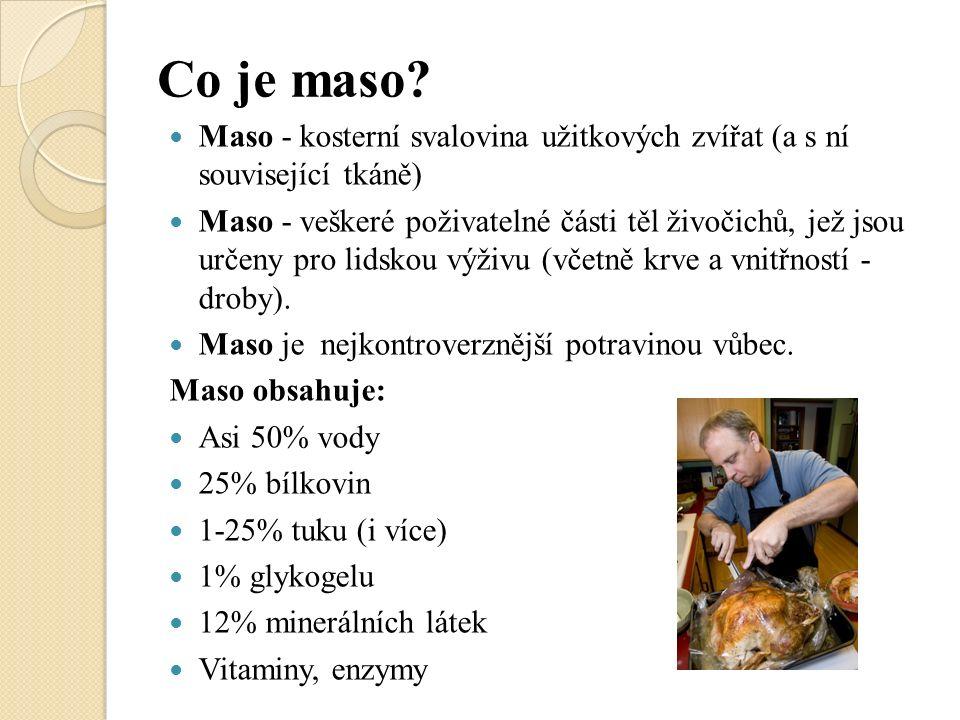Co je maso? Maso - kosterní svalovina užitkových zvířat (a s ní související tkáně) Maso - veškeré poživatelné části těl živočichů, jež jsou určeny pro