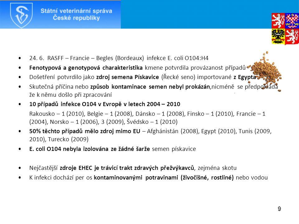 24. 6. RASFF – Francie – Begles (Bordeaux) infekce E.