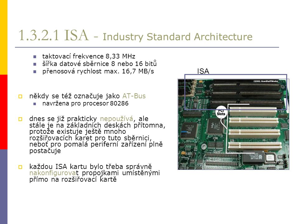 1.3.2.1 ISA - Industry Standard Architecture taktovací frekvence 8,33 MHz šířka datové sběrnice 8 nebo 16 bitů přenosová rychlost max.