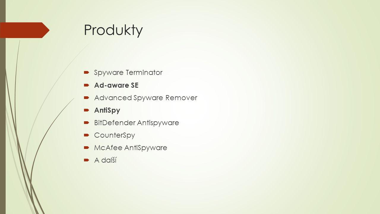 Produkty  Spyware Terminator  Ad-aware SE  Advanced Spyware Remover  AntiSpy  BitDefender Antispyware  CounterSpy  McAfee AntiSpyware  A další