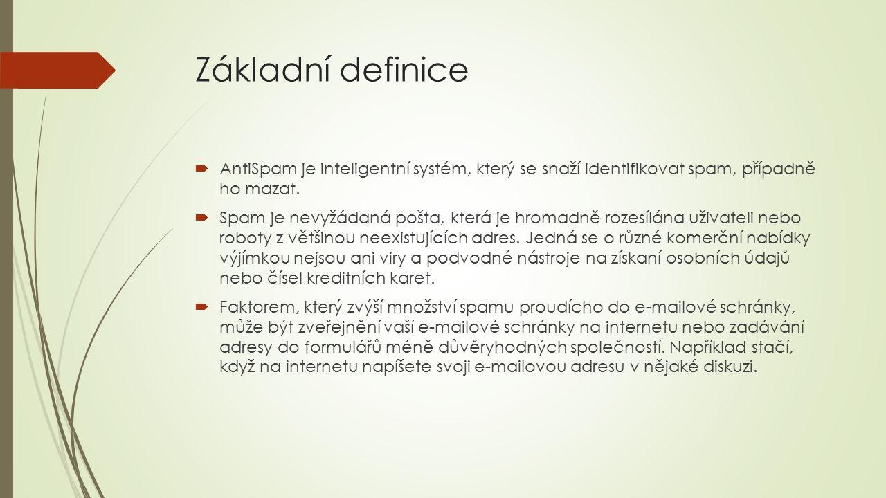 Základní definice  AntiSpam je inteligentní systém, který se snaží identifikovat spam, případně ho mazat.