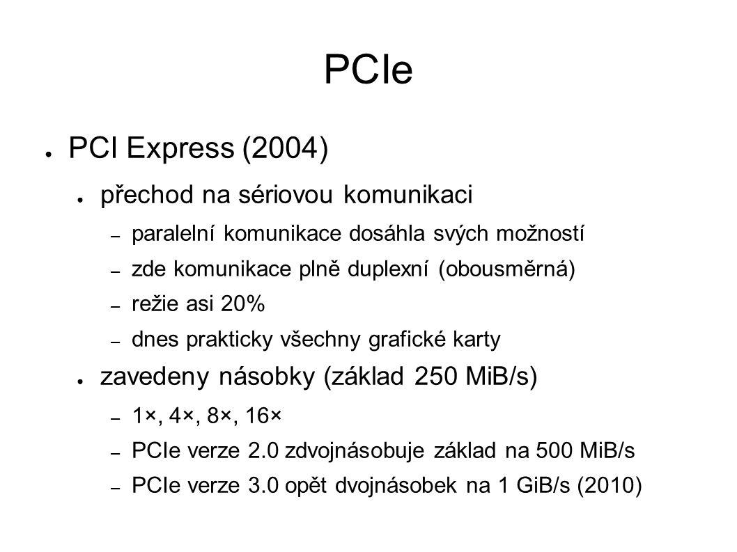 PCIe ● PCI Express (2004) ● přechod na sériovou komunikaci – paralelní komunikace dosáhla svých možností – zde komunikace plně duplexní (obousměrná) – režie asi 20% – dnes prakticky všechny grafické karty ● zavedeny násobky (základ 250 MiB/s) – 1×, 4×, 8×, 16× – PCIe verze 2.0 zdvojnásobuje základ na 500 MiB/s – PCIe verze 3.0 opět dvojnásobek na 1 GiB/s (2010)