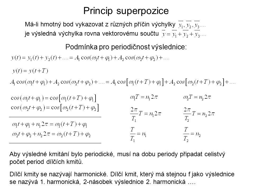 Princip superpozice Má-li hmotný bod vykazovat z různých příčin výchylky je výsledná výchylka rovna vektorovému součtu Podmínka pro periodičnost výslednice: Dílčí kmity se nazývají harmonické.