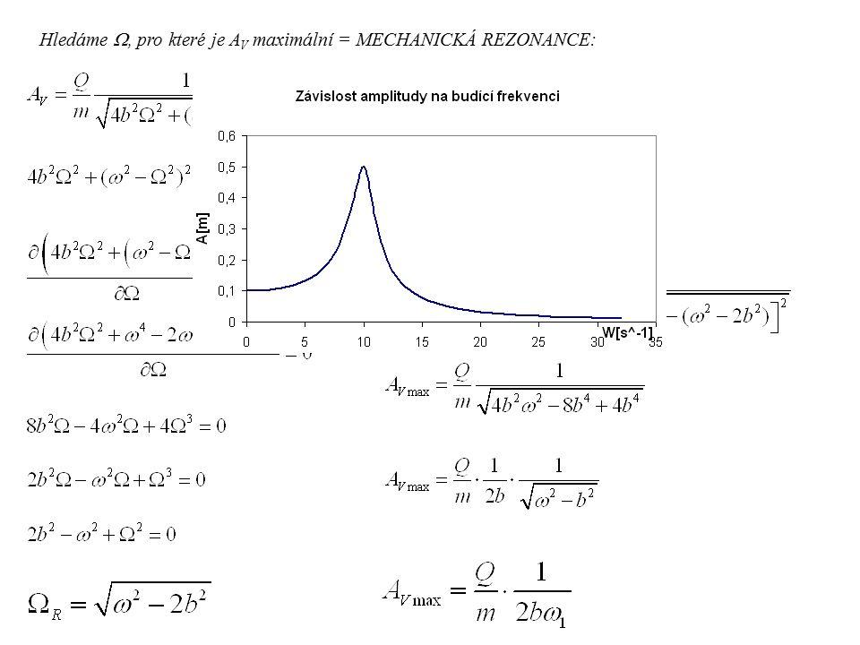 Hledáme , pro které je A V maximální = MECHANICKÁ REZONANCE: