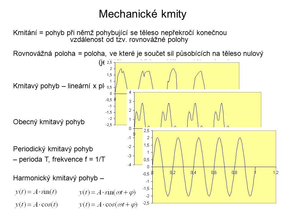 Mechanické kmity Kmitání = pohyb při němž pohybující se těleso nepřekročí konečnou vzdálenost od tzv.