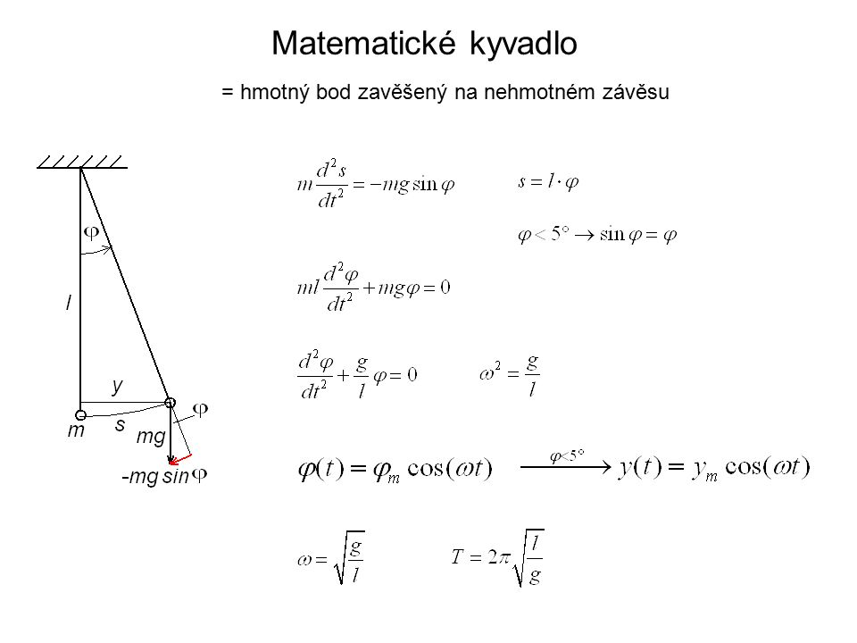 Matematické kyvadlo = hmotný bod zavěšený na nehmotném závěsu