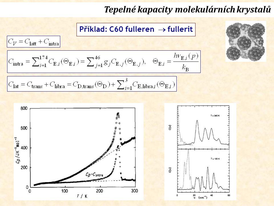 Tepelné kapacity molekulárních krystalů Příklad: C60 fulleren  fullerit