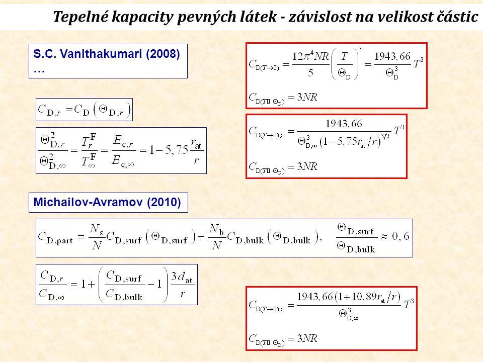 Tepelné kapacity pevných látek - závislost na velikost částic S.C.