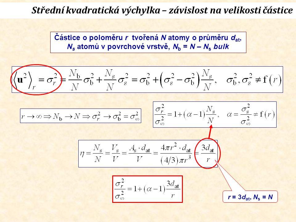 Částice o poloměru r tvořená N atomy o průměru d at, N s atomů v povrchové vrstvě, N b = N – N s bulk r = 3d at, N s = N Střední kvadratická výchylka – závislost na velikosti částice