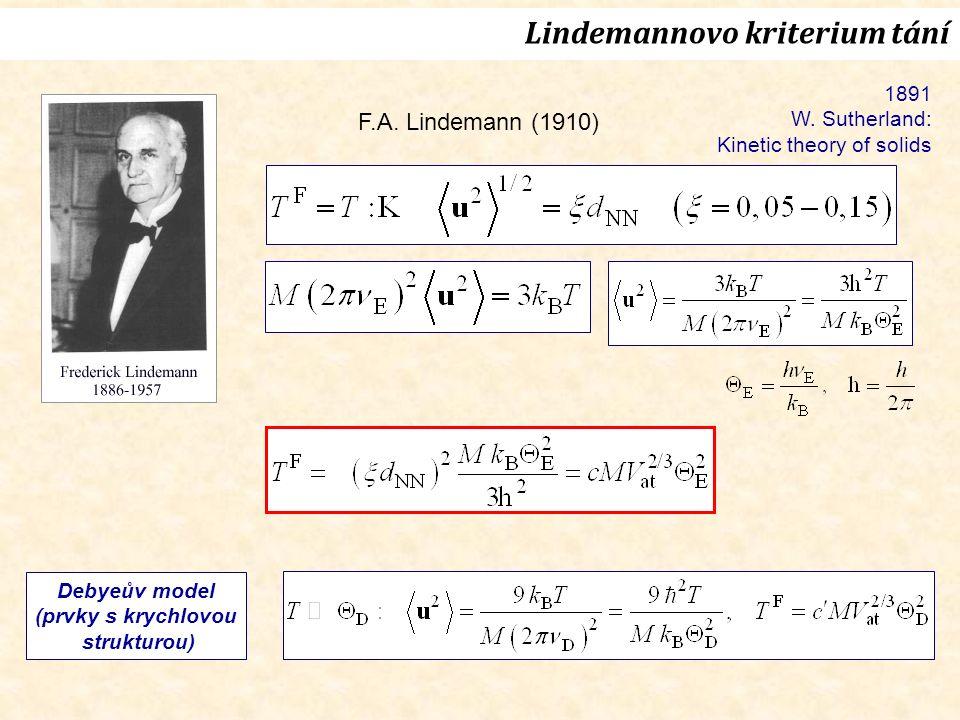 F.A. Lindemann (1910) Lindemannovo kriterium tání 1891 W.
