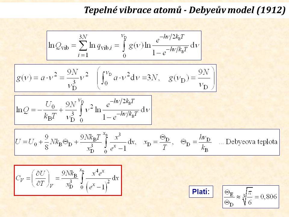 LDA  GGA  Tepelné vibrace atomů – fononové spektrum h = 6,6256  10  34 J.s k B = 1,38054  10  23 J/K Θ D = 500 K ν D = 10,4 THz ν D /c = 347 cm -1 g(ν D ).c = 0,026 cm
