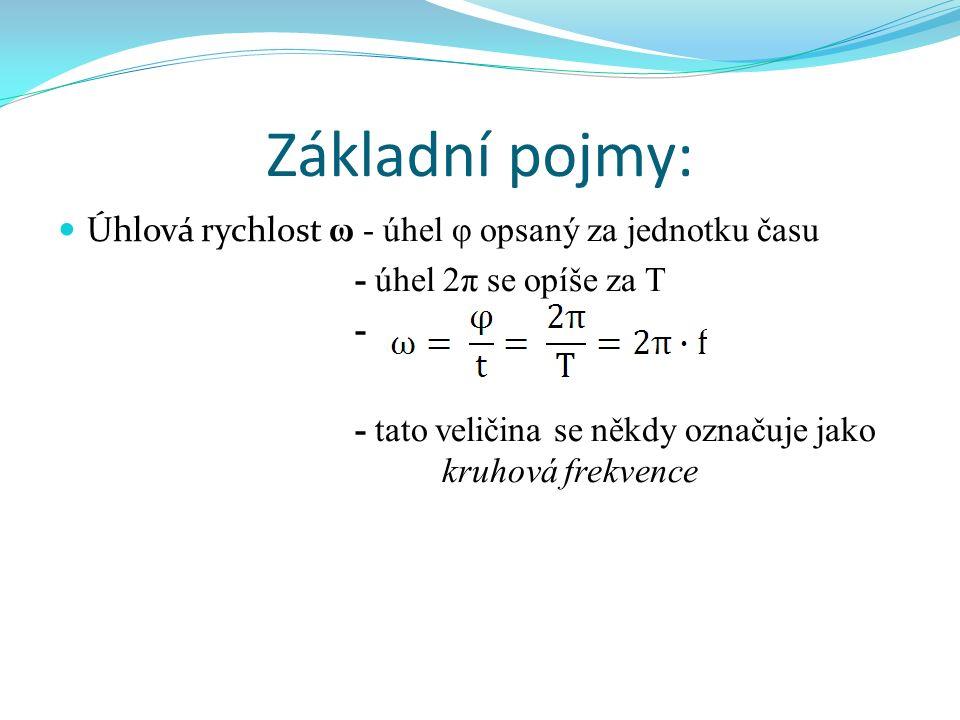 Základní pojmy: Úhlová rychlost ω - úhel φ opsaný za jednotku času - úhel 2π se opíše za T - - tato veličina se někdy označuje jako kruhová frekvence