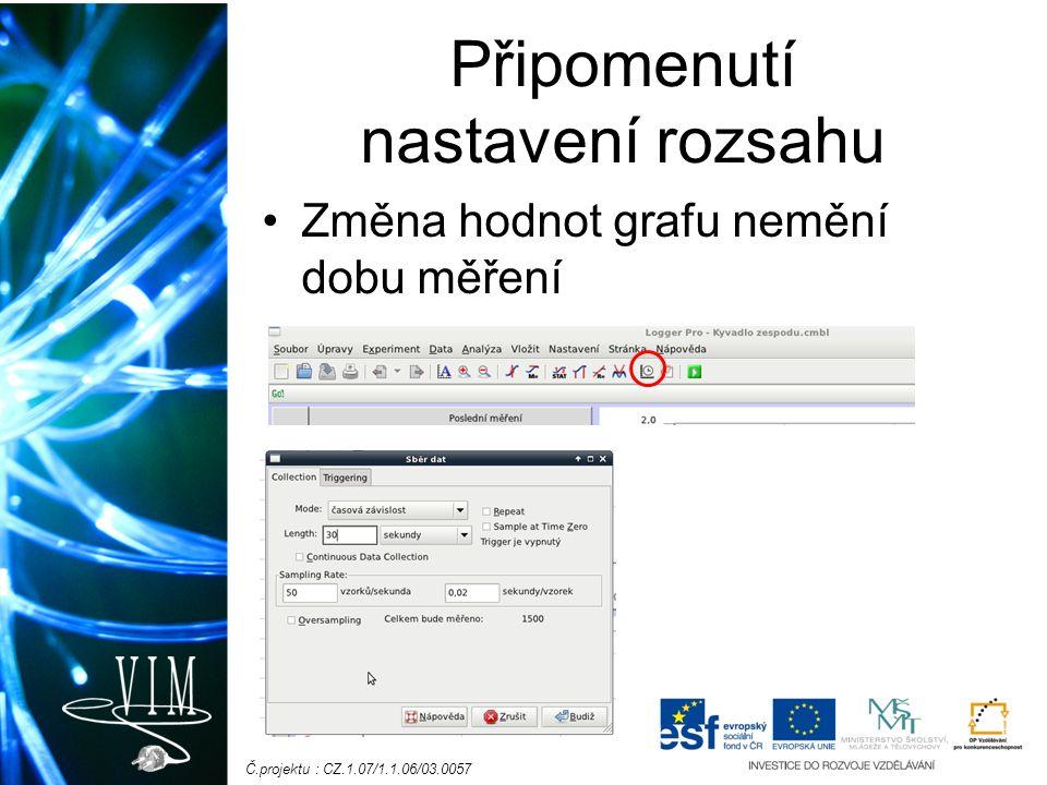 Č.projektu : CZ.1.07/1.1.06/03.0057 Připomenutí nastavení rozsahu Změna hodnot grafu nemění dobu měření