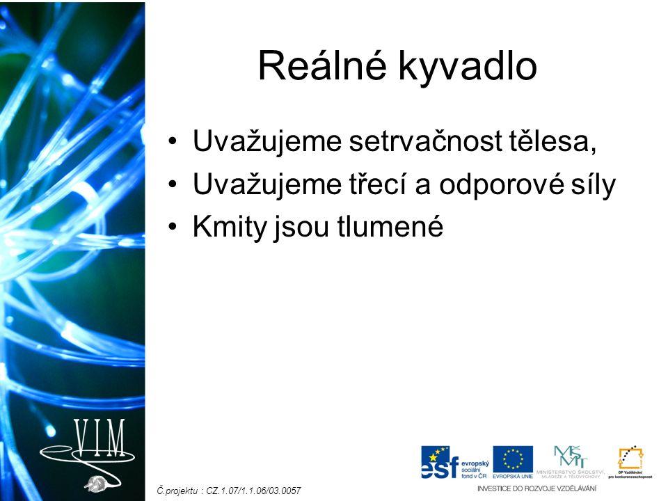 Č.projektu : CZ.1.07/1.1.06/03.0057 Reálné kyvadlo Uvažujeme setrvačnost tělesa, Uvažujeme třecí a odporové síly Kmity jsou tlumené